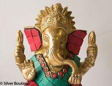 "Ganesha Statue Studded Corals Turquoise Handmade Brass Statue Wisdom Inlay 5"""