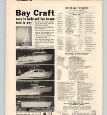 1958 PAPER AD Bay Craft Motor Boat 24' Family Cruiser 20' Vacationer Express