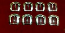 Leather Hardware - LOT Of 8 Floral Silver Plated Heel Bar Buckles -  1""