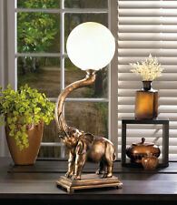 retro 2' lucky bronze ELEPHANT statue globe bedside end Table Lamp night light L