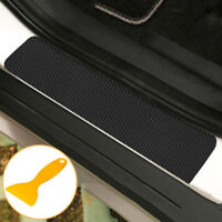 4x Carbon Fibre 3D Car Door Sill Scuff Protector Plate Sticker Cover Tool UK