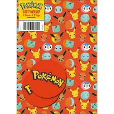 Official POKEMON Gift Wrap Sheet +Tags Birthday Wrapping NEW Free Delivery