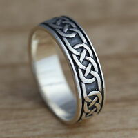 Solid 925 Sterling Silver Celtic Knot Oxidized Band/Thumb Ring N-Z+1 Sizes 6.5mm