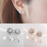 Elegant Women's Pearl Rhinestone Crystal Earrings Fashion Lady Ear Stud Jewelry