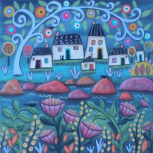 Homes By The Water 12 x 12 ORIG CANVAS PAINTING Folk ART PRIM WHIM Karla Gerard