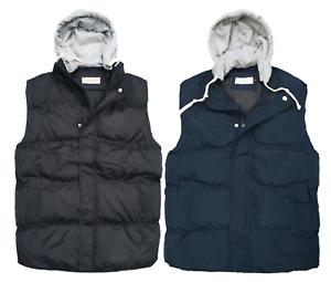 New Mens Body Warmer Gilet Hoodie Hooded Contrast Hood Sleeveless Jacket M - XXL