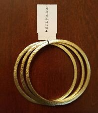 New SILPADA SET OF THREE TRILOGY GOLD COLORED BRASS HAMMERED 3 BANGLE BRACELETS