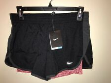 NIKE Women's Printed 4 Dri-Fit Running Shorts BLACK/SALMON Size S Exercise NWT
