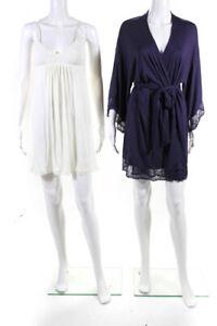 Eberjey Womens Delirious Chemise Slip Dress Robe White Purple Size S M Lot 2