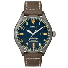 Timex Originales TW2P83800 para hombre con correa de cuero marrón de Waterbury RRP £ 79.99
