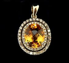 Levian Yellow Gold Citrine Chocolate and Vanilla Diamond Pendant