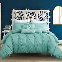 7 Piece Luxury Pinch Pleat Pintuck Ruffling Beding Comforter Set,King Size, Aqua