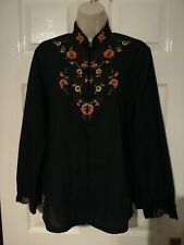 Oriental Ladies Blouse, Shirt Black, Embroidered, Floral, Flowers, Size 12-14