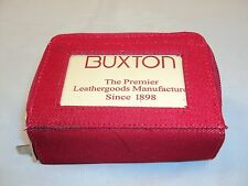 Buxton Red Denim Palm Wallet ~ Dual Zip Compartments w/Exterior ID Window NEW