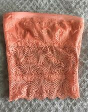 GORGEOUS! NEW BEBE ORANGE PEACH LACE TUBE TOP ZIPPER SIDE SIZE SMALL S