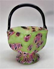 """Fine & Rare KRALIK BOHEMIAN """"Pampas"""" Art Deco Glass Basket Vase c. 1930  antique"""
