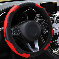 Trim Steering Wheel Cover 38CM Carbon Fiber Leather Interior Accessory  Car Part