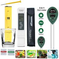 Digital LCD TDS & EC Meter pH Tester Aquarium Hydroponic Water Monitor Soil Test