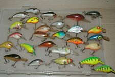 Lot- 26 Vintage Fishing Lures Cordell, Bagley's, Rebel, Rapala USED Plano Box