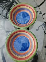 2 Mulberry Home Collection SWIRL RAINBOW bowls China 8 inch