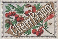 """CHERRY BRANDY"" Etiquette-chromo originale fin 1800"