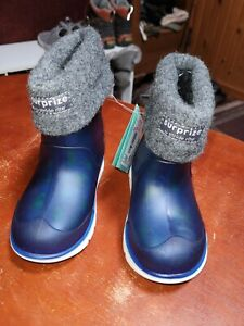 Surprize Stride Rite Conquer Boys Rain Snow Boots Size 7M NWT Rocket Ships Blue