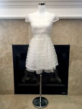 Tibi Collection white organza and lace short sleeve dress medium small