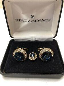 Stacy Adams Crystal Cufflinks Sets Gold Setting, Tie Tack Swarovski Stones