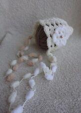 Stunning Crochet Baby Hat/Bonett With White and Cream Flower  0-3 Month