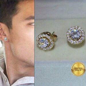 Men's Women Round 10mm Simulated Diamond 18K Yellow Gold Filled Stud Earrings UK