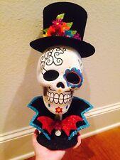 HTF NEW Pier 1 Imports LARGE ~DAY OF THE DEAD Glitter Skeleton Skull Halloween