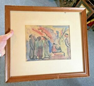 Interesting Antique 1920's Signed Hague Watercolor Painting, Estate Find