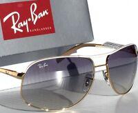 NEW* Ray Ban AVIATOR Gold White 64mm Blue Gradient Sunglass RB 3387 077/7b
