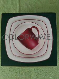 Noritake 4pc Colorwave Square Place Setting Raspberry Dinnerware Set open Box
