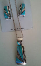 925 Fine Sterling Silver Opal Turquoise Pendant Necklace Earring Set New Mexico