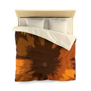 Brown Daisy Design Abstract Art Polyester Duvet Cover Artistic Quilt Blanket in