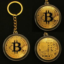 BTC Physical Bitcoin Gold Medal Key Ring Chain Fob Keychain Keyring