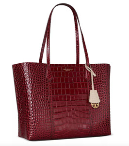 AUTH NWT Tory Burch Perry Triple Compartment Croc Embossed Leather Tote Shopper