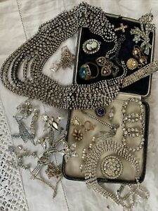 collection of Vintage 1950s/60s Paste crystal Costume Jewellery spares repairs