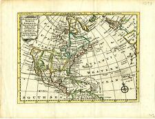 1747 Genuine Antique hand colored map North America. Quivira. by E. Bowen