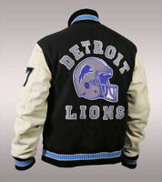 Mens Beverly Hills Cop Axel Foley Detroit Lions Olahraga Wool & Leather Jacket