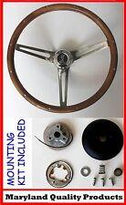 "84-89 Ford Mustang Grant Wood Walnut Steering Wheel Cobra cap 15"" SS spokes"