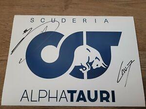 PIERRE GASLY & YUKI TSUNODA HAND SIGNED A4 PICTURE FORMULA 1 F1 MEMORABILIA