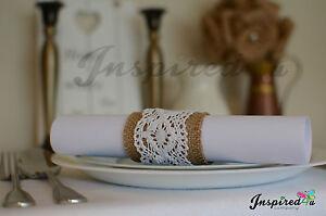 Set of 10 Hessian Burlap Lace Christmas Serviette Table Napkin Rings Wedding