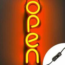 Vertical Led Neon Open Sign Light for Business - Orange