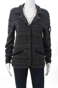 Athleta Womens Long Sleeve Aztec Print Knit Blazer Jacket Gray Wool Size Small