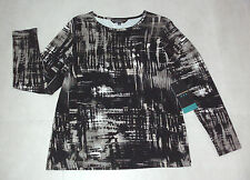 BLACK PEPPER: Size: 10-12. Modern Multi Slimming Print, L/Sleeve, Comfy Top