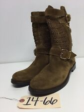 1466 NEW Burberry Brit Grantville Brown Woven Suede Mid Calf Boots Women Sz 38 M