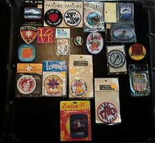 Sew on patch lot of 19 vintage unapplied patches, states destination ski