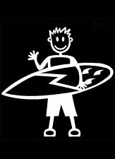 M8 MAN WITH SURFBOARD - MY STICK FIGURE FAMILY CAR WINDOW STICKER DECAL